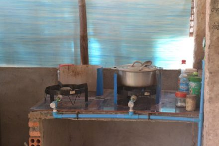Cooking area in Cambodia