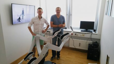 Founders Johannes Scholl (left) and Michael Schmidt (right) in the old Icaros office.